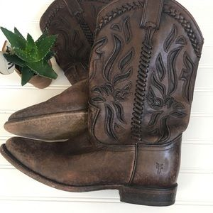 FRYE | Tooled Leather Cowgirl Boots